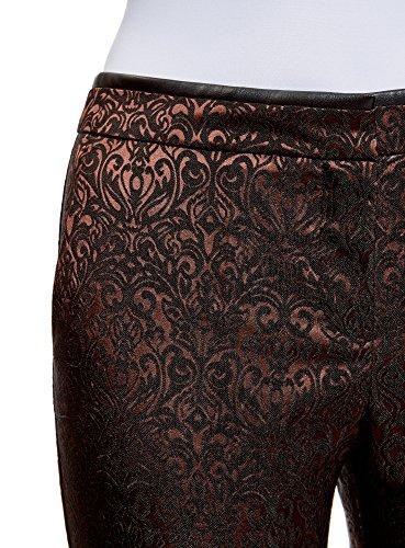 oodji Collection Donna Pantaloni di Jacquard con Piega Marrone (3929J)