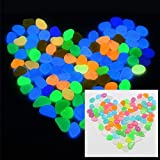 #2: 100 Pieces Pack Colorful Glowing Garden Pebbles, Glow in The Dark Decorative Stone for Walkways Decor, Luminous Stones for Plants Pot, Fish Tank etc,Colorful Luminous Plastic Pebbles