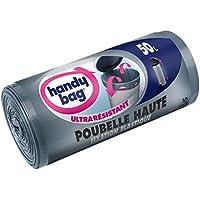 Handy Bag 2 Rouleaux de 10 Sacs Poubelle 50 L, Pour Poubelles Hautes, Fixation Élastique, Ultra Résistant, Anti-Fuites, 47 x 85 cm, Gris Foncé, Opaque