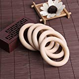 Dabixx Baby Teething Rings Natural Wooden Necklace Bracelet Crafts DIY 5 Pieces 70 mm