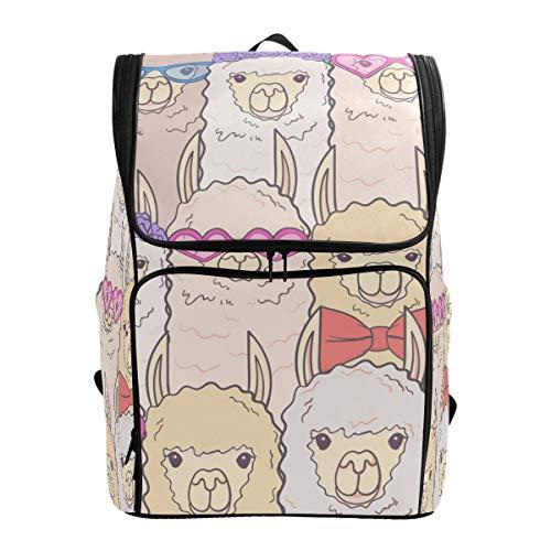 Ahomy Schulranzen niedliche Llamas Brille Fliege Blumen Wanderrucksack Cool Sport Rucksack Laptop Tasche Leichter Schulrucksack für Teenager Mädchen Jungen
