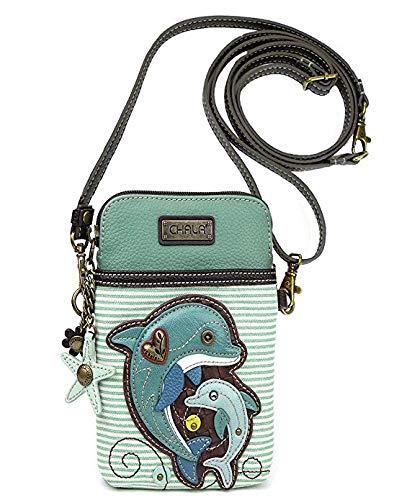 CHALA Damen Handtasche mit verstellbarem Riemen, Blau (Dolphin Teal Stripe), Einheitsgröße Samsung Stripe