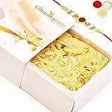 Ghasitaram Gifts Rakhi Gifts for Brother - Rakhi Sweets- Butter Scotch Soan Papdi 200 gms with Oval Rudraksh Rakhi