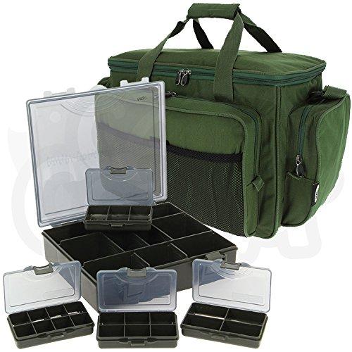 Grün Isolierte Angelzeug Sporttasche mit 4+ 1Bit-Box Set Karpfenangeln