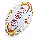 Crown Sporting Goods Ballon de Rugby Rouge Royal Taille 5 Premium avec Grip texturé Idéal pour Le Match, la Pratique et Le Jeu de grattage