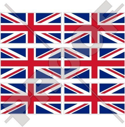 BRITISCHE UNION JACK Flagge Großbritannien UK 40mm Mobile, Handy Vinyl Mini Aufkleber, Abziehbilder x6 Stickers Mini-jack Helm