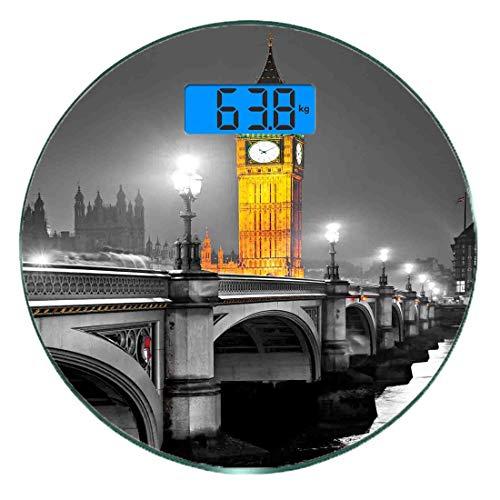 Bilancia digitale di precisione tondo Londra Misurazioni accurate del peso della bilancia pesapersone in vetro ultra sottile,Il Big Ben e il ponte di Westminster di notte nel Regno Unito Street River