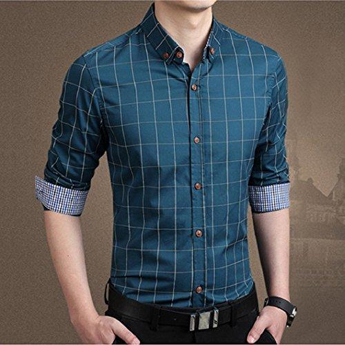 Ularma Herren Shirt Schlanke Trachtenhemd Langarm Herrenhemd Freizeit Button-Down Hemd Shirt Navy