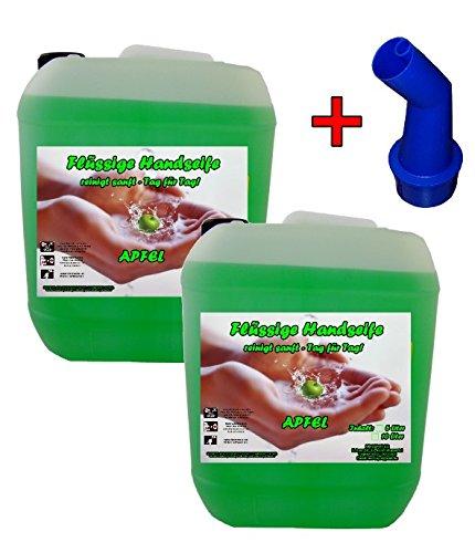 2x 5 L Cremeseife Handseife APFEL + Ausgießer Flüssigseife extra mild Seifenspender