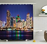 ROBIN GREEN Apartment Decor Collection, Colorful Skyline San Diego at Night North San Diego Bay Boats Architecture Urban Picture, Polyester Fabric Bathroom Shower Curtain Set with Hooks, Navy
