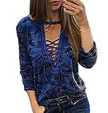 ZEZKT Damen V-Ausschnitt Bluse Langarm Oversize Hemd, Camouflage Damen Longshirt Cardigan Top Basic Pullover Bandage Design (XL, Blau)