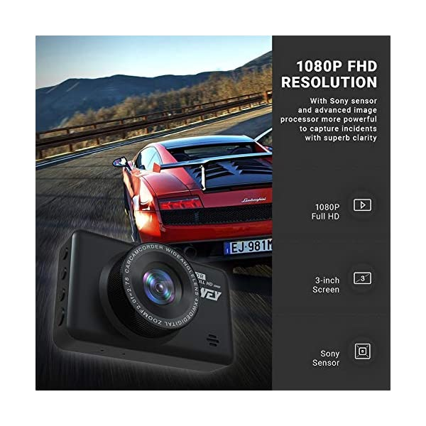 Dash Cam Front and Rear Camera FHD 1080P with Night Vision and SD Card Included, 3 Inch IPS Screen Dash Cam for Cars, 170°Wide Angle Dashboard Camera DVR Motion Detection Parking Monitor G-Sensor HDR 7