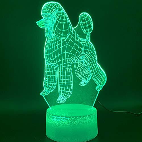 Lampe 3D-3D Led Veilleuse Chien Caniche Décoration De La Maison Artisanat Couleur Changeante Enfant Bébé Chambre Veilleuse Enfants Cadeau D'Anniversaire