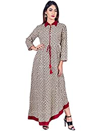 Missprint Women's Hand Block Printed Shirt Collar 3/4 Sleeve Anarkali Fabric Cotton Asymmetrical Dress