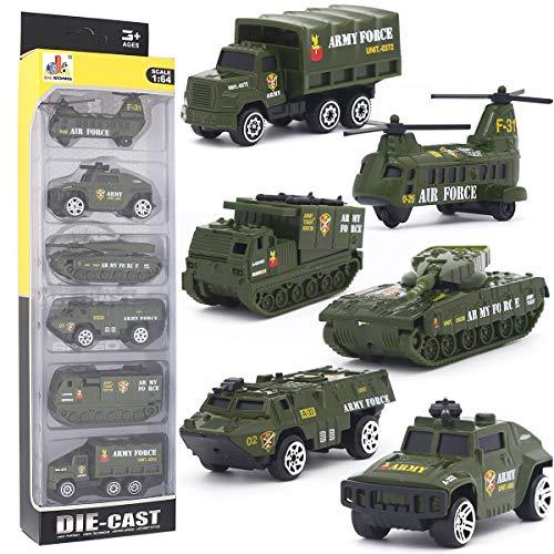 Desong mini veicolo militare modelli costruzione veicoli giocattolo per bambini ragazzi e ragazze decorazioni per torta, set di 6