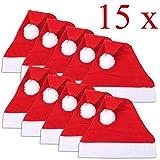 Jonami 15 Cappelli di Babbo Natale. Cappellini Tradizionali Rosso e Bianco Unisex Taglia Unica a Design Batalizio. Accessori per Costume di Babbo Natale.