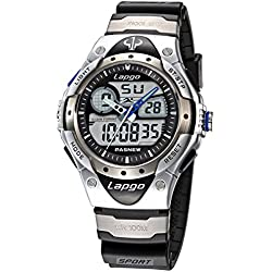 Alienwork Analogue-Digital Watch Multi-function LCD Wristwatch Water Resistant 10ATM Rubber silver black PLG-388AD-01