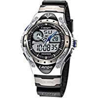 Alienwork orologi orologio multifunzione LCD orologio da polso resistente all' acqua 10ATM Gomma argento nero PLG-388AD-01