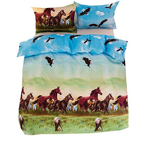Karikatur Tier Zebra Pferd Bettbezug Set, Wunderschönen Blau Rosa Lila Zebra Bettwäsche Set mit Kissenbezug Mikrofaser Polyester (Pferd, 200x200cm) Lila Zebra