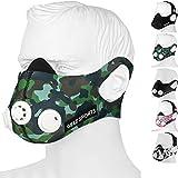 GEEZ - Máscara de entrenamiento profesional para entrenamiento en altitud - Aumento de la aptitud física, máscara de respiración, máscara de entrenamiento, máscara de hipoxia, training mask (Green Camouflage, M)