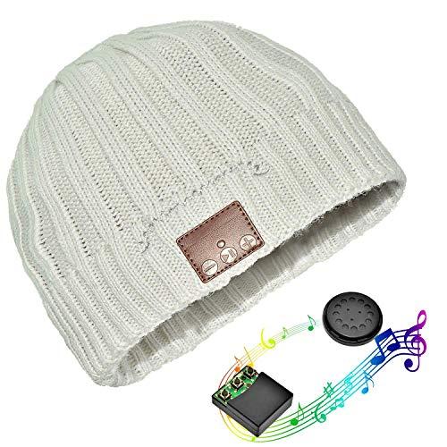 Bluetooth Hut,Unisex Bluetooth Mütze Waschbare Bluetooth Beanie Hut Drahtloser Music Cap mit Stereo Bluetooth Kopfhörer und Freisprecher Telefonbeantwortung Kompatibel mit Android und iOS (Strip bianco)
