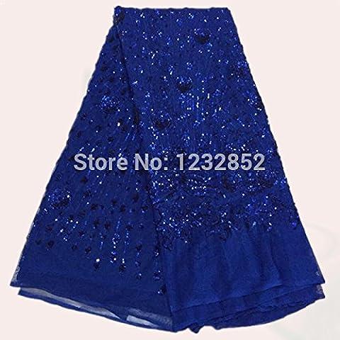 El nuevo cordón azul real Noble red con lentejuelas francesa cordón de la tela del paño FN6-4African Orangza bordado para el vestido multicolor
