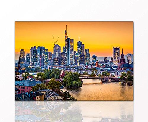 Berger Designs - Stadtbild Frankfurt 80x120 cm auf Leinwand und Holzkeilrahmen - Beste Qualität, handgefertigt in Deutschland -