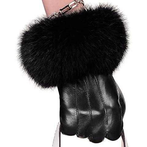 2016 inverno nuovo pelle di pecora pelle Guanti donna di pelliccia di coniglio caldo e caldo prima scelta Plus Velvet , black m - full touch screen