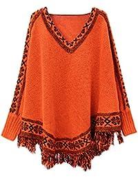YouPue Casual Rétro Manches Chauve Souris Poncho Femmes Imprimé Loose Manches Longues V Col Tassels Creux Châle Veste Tricot Pull Cloak