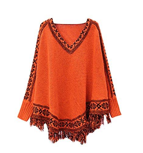 YouPue Casual Rétro Manches Chauve Souris Poncho Femmes Imprimé Loose Manches Longues V Col Tassels Creux Châle Veste Tricot Pull Cloak Orange
