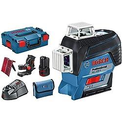 Bosch Professional Laser Lignes Gll 3-80 C ( 4 piles 1.5 V LR6 (AA), Laser Rouge, Portée 30 m, L-Boxx)