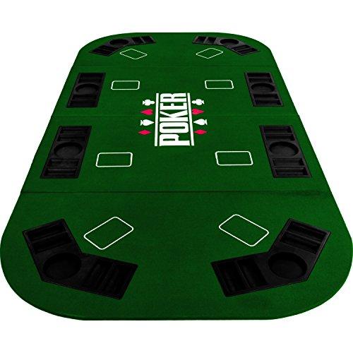 Maxstore Faltbare XXL Pokerauflage für bis zu 8 Spieler, Maße 160x80 cm, MDF Platte, 8 Getränkehalter, 8 Chiptrays, grün - 6