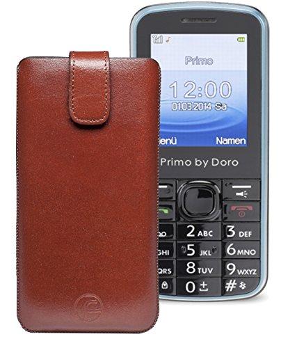 Original Favory ® Etui Tasche für / Primo 305 by Doro / Leder Etui Handytasche Ledertasche Schutzhülle Case Hülle *Lasche mit Rückzugfunktion* In Braun