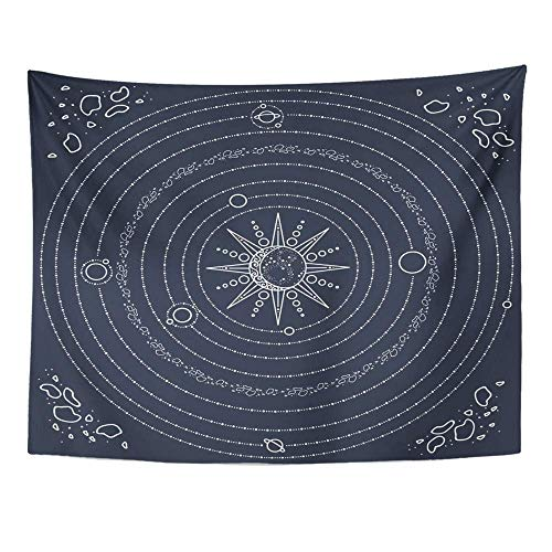 BAOQIN Tapisserie Unique Design Wonderful Prints Tapestry Home Decor Solar System Model Space with Sun Planets Stars Asteroids White Lines with Blue Wall Hanging 60x80 Inch