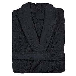 Linens Limited Bademantel - 100 % Ägyptische Baumwolle - Schwarz - Größe L
