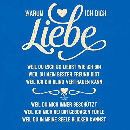 Soreso Design Geschenk Kissen :: Warum ich Dich Liebe :: Geschenkidee für Frauen & Männer :: Kissen 40 x 40 cm inkl. Füllung Farbe: royal-blau