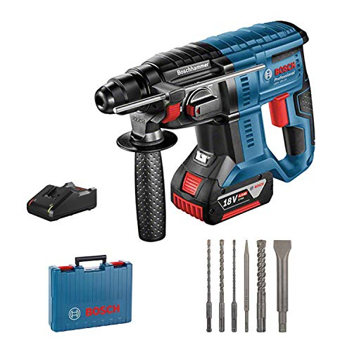 Bosch Professional Akku Bohrhammer GBH 18V-20 (18 Volt System, 1x 4,0 Ah Akku, 6tlg. Bohr-Meißel-Set, max. Bohr-Ø in Beton: 20 mm, im Koffer)