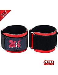2Fit Pesas Muñequeras Heavy Duty doubble Strength Bodybuilding neopreno Levantamiento de pesas gimnasio entrenamiento Correa de vendaje de mano, rojo
