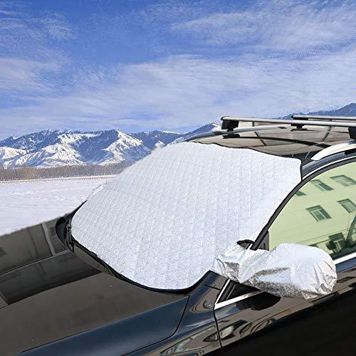 Queta Windschutzscheibenabdeckung, Faltbare & Abnehmbare Frontscheibenabdeckung mit 5 starken Magneten Fixierungen - Perfekt gegen Schnee, EIS, Frost, Staub, Sonne, usw. Eignet für die Meisten Autos