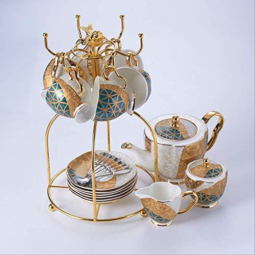 QYYDMKB Bone China Kaffee Set Gold Inlay Porzellan Tee Set Erweiterte Topf Tasse Keramik Becher Zuckerdose Creamer Teekanne Milchkännchen 16 STÜCKE Set China Creamer