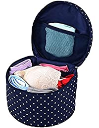 Getko Portable Waterproof Portable Round Barrel Bra Underwear Lingerie Cover Holder Organizer Bag Cosmetic Makeup...