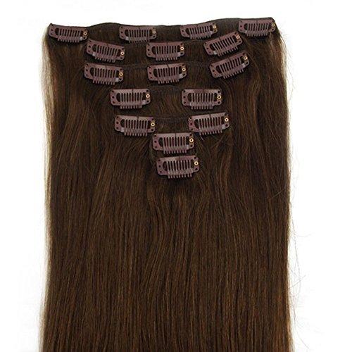 Extensions à clips en cheveux naturels Remy marron moyen et véritable hair-protect votre investment-best garantie à vie (71,1 cm 120 g)