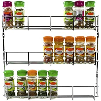andrew james 3 tier herb and spice rack for up to 24 jars and packets chrome mountable to wall or cupboard each tier 405 x 62 x 6cm fixing screws