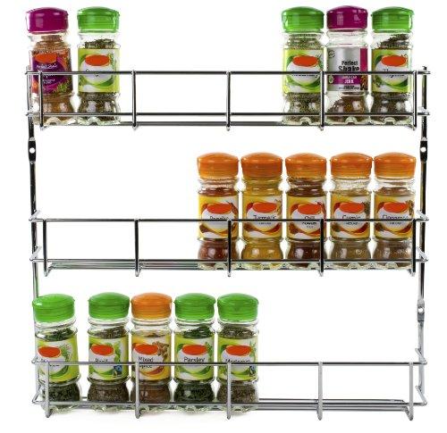 Andrew James - Gewürzregal - 3 Etagen - Zur Befestigung An Wand Oder Küchenschrank