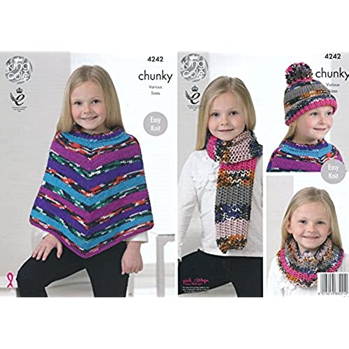 Crochet scarves patterns amazon king cole girls big value multi chunky knitting pattern easy knit poncho snood scarf hat 4242 by king cole dt1010fo