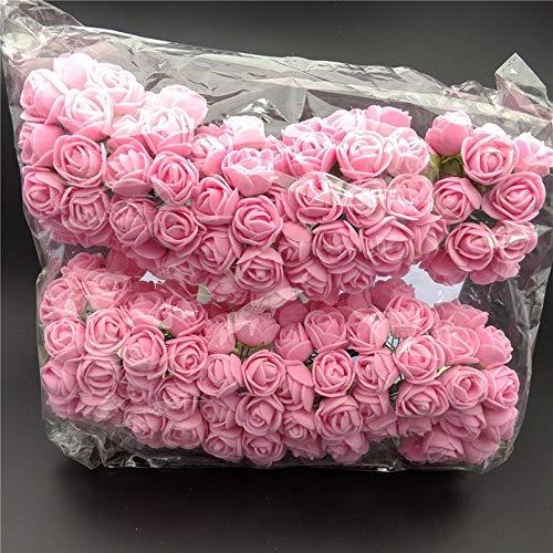 umen Dark Red Roses 144 stücke Echt Suche Gefälschte Rosen w/Stamm für DIY Hochzeit Bouquets Mittelstücke Home Halloween Party Weihnachtsschmuck (Farbe : Pink - no Yarn) ()