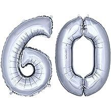 DekoRex® 100cm Globo Balón de Helio Número de plata brillante argentado Decoración del globo del cumpleaños No. 60