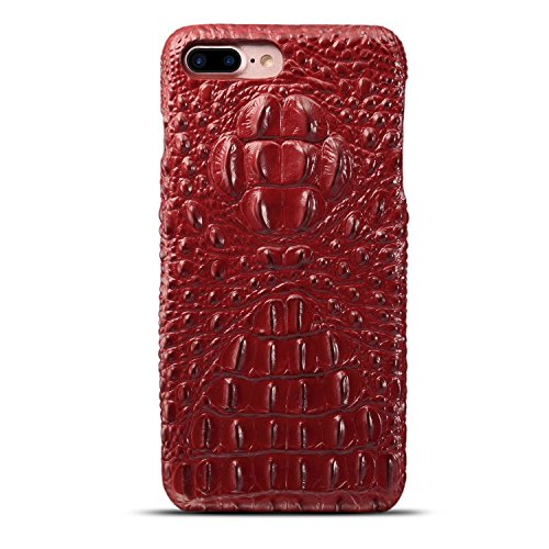 Hülle für iPhone 7 plus , Schutzhülle Für iPhone 7 Plus Luxus 3D Krokodil Korn Haut Textur Echt Leder Stoßstange Fall Shockproof Hard Back Cover ,hülle für iPhone 7 plus , case for iphone 7 plus ( Col Red