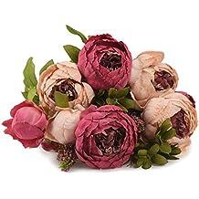 FiveSeasonStuff Ramos de Flores Seda Peonía Flor Artificial Estilo Europeo, Perfecto para la Boda, Nupcial, Partido, Hogar, Oficina de la Decoración de DIY (Rosa Mixta)
