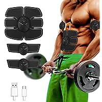 EMS Estimulador Abdominal, Carga USB 6 Modo 10 Intensidad Abdominal Tonificación Cinturones Músculo Toner Gimnasio Entrenamiento Y Aparato De Fitness para El Hogar para Hombres Mujeres